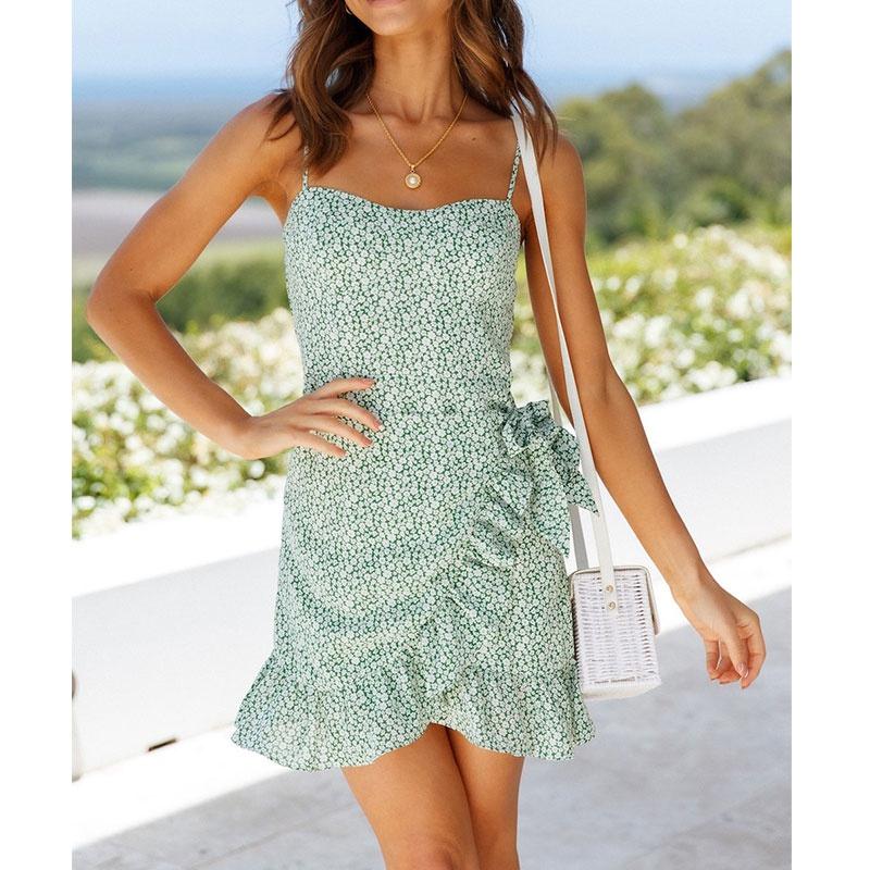 Fashion waist printing dress wholesale NHJG336682