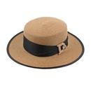 Fashion sunscreen letters rhinestone flat top straw hat NHXO336720
