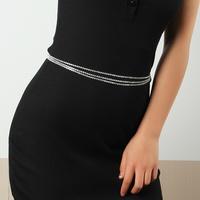 Mode dreilagige Volldiamant-Taillenkette NHAU336796