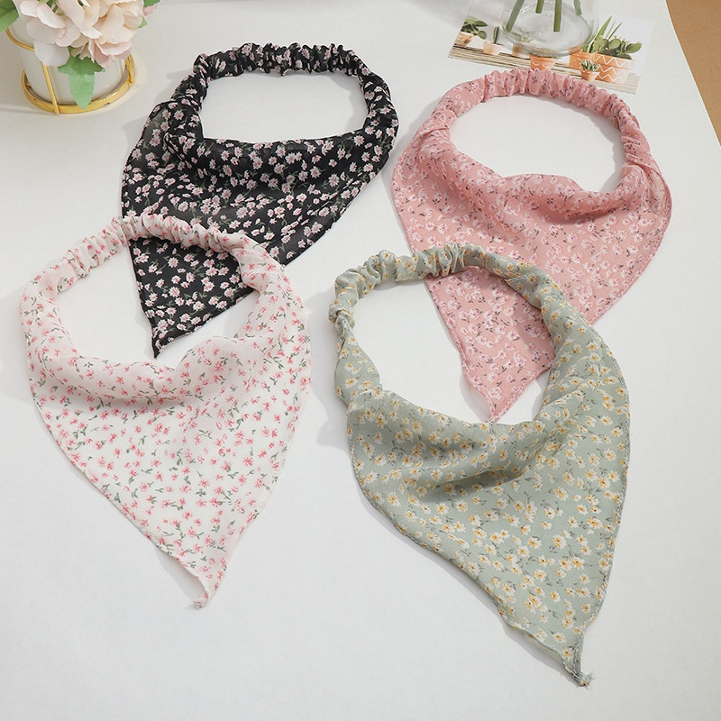 Fashion thin floral elastic triangle scarf headband wholesale NHAU336800