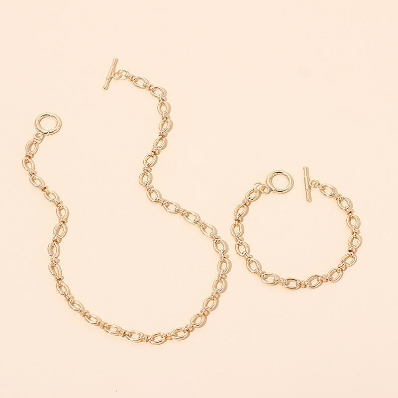 hiphop geometric metal necklace bracelet set wholesale NHRN336811