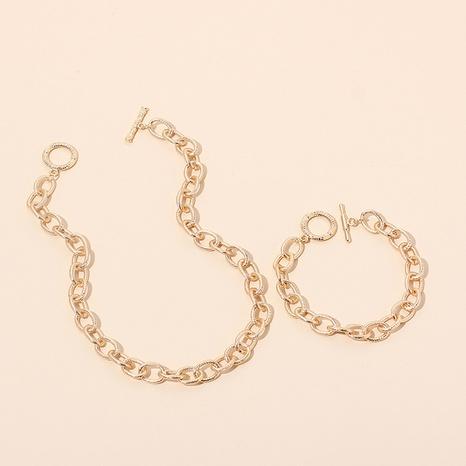 Conjunto de collar de pulsera geométrica de hip-hop al por mayor NHRN336813's discount tags