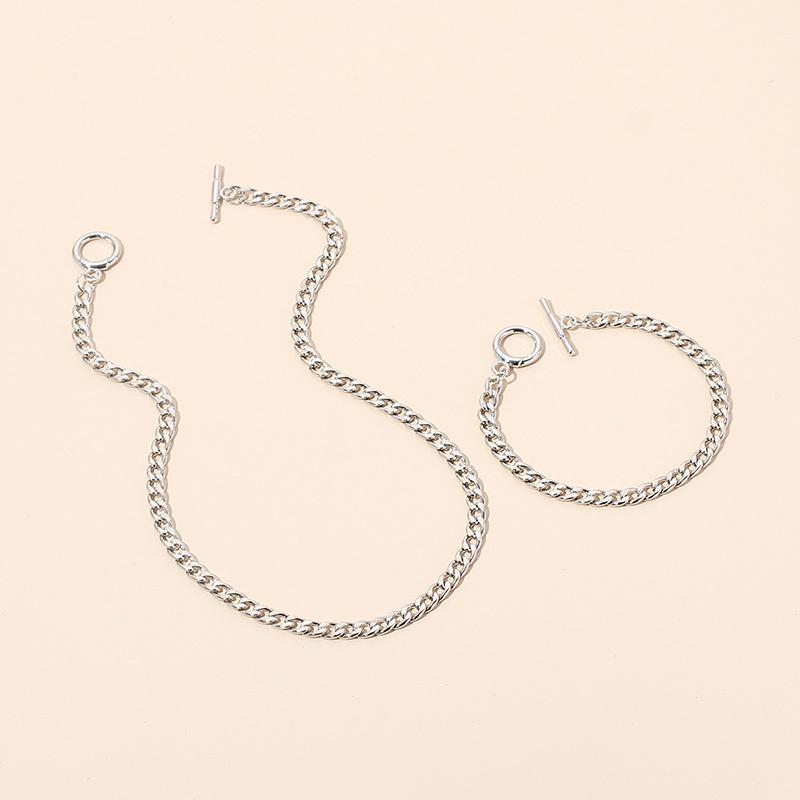 Hip hop metal chain necklace bracelet set wholesale NHRN336814