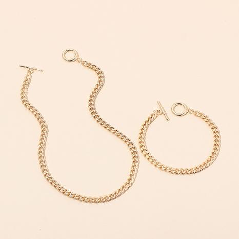 Conjunto de pulsera de collar de metal geométrico de hip-hop al por mayor NHRN336815's discount tags