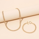 Hiphop geometric metal necklace bracelet set wholesale NHRN336815