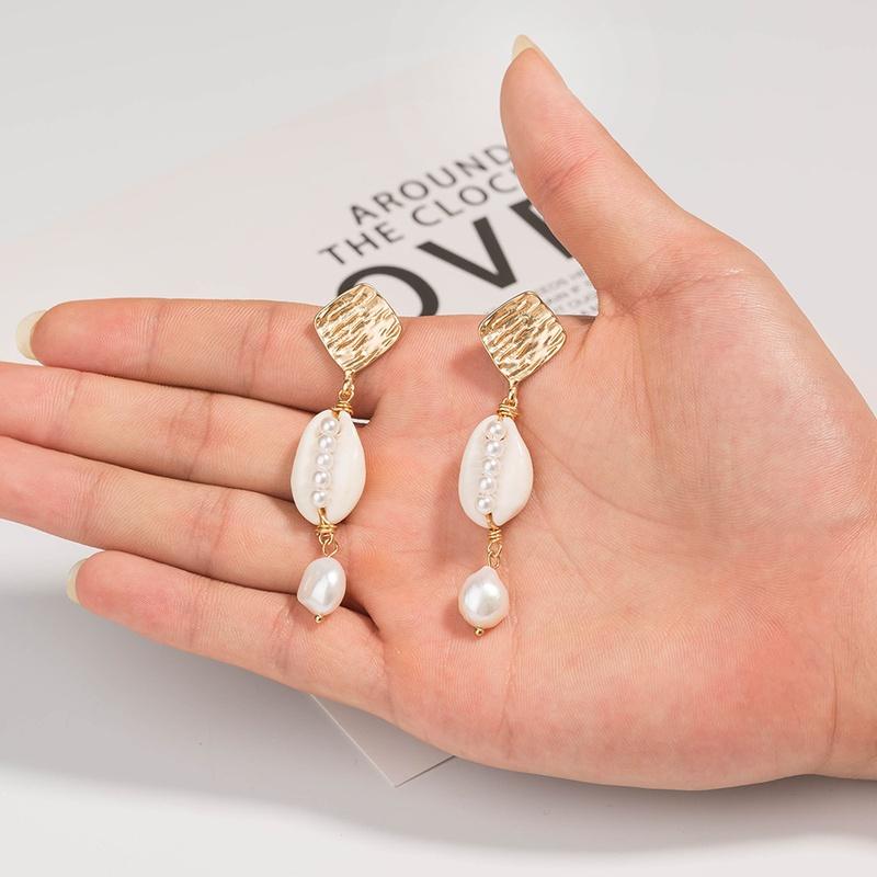 Fashion Shell Pearl Earrings Wholesale NHAN336816