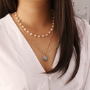 Fashion pearl semiprecious stones multilayer necklace wholesale NHBW336834