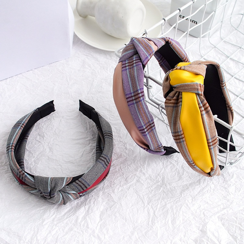 Korean plaid color matching headband NHWB336857