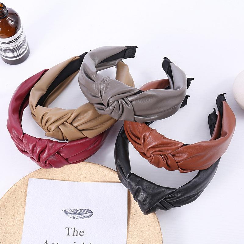 Korean solid color leather headband  NHWB336870