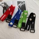 simple black square buckle printed belt NHWP336891