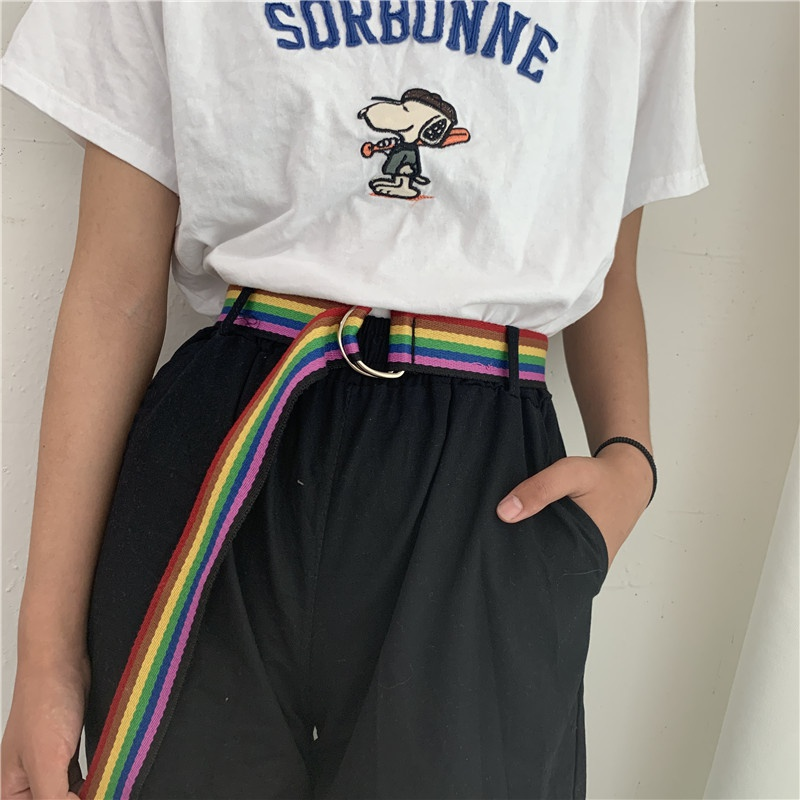 casual rainbow color double loop canvas belt   NHWP336894