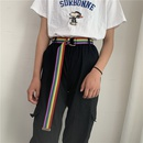 casual rainbow color double loop canvas belt   NHWP336894