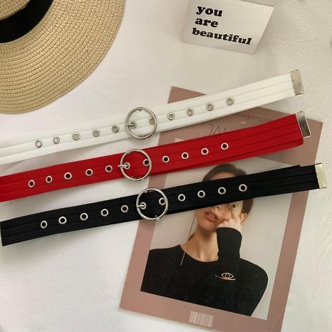 Korean round buckle canvas belt NHWP336900's discount tags