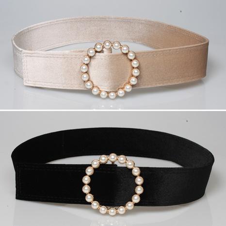 fashion velvet pearl decoration round buckle belt NHJSR336951's discount tags