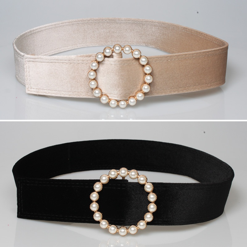 fashion velvet pearl decoration round buckle belt NHJSR336951