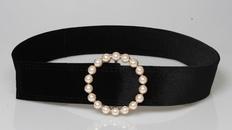 fashion velvet pearl decoration round buckle belt NHJSR336951