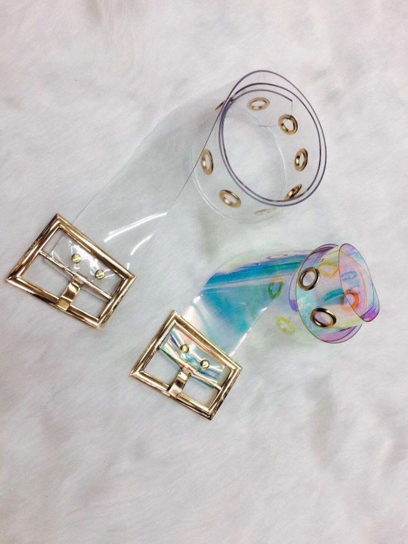 fashion transparent square buckle PVC wide belt  NHJSR336955