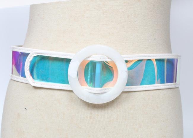 fashion laser transparent round buckle belt  NHJSR336958's discount tags