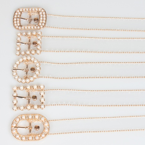 Korean pearl rivet diamond belt NHJSR336960's discount tags