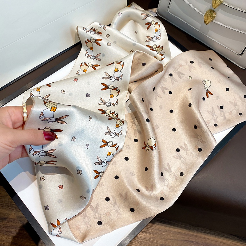 white rabbit print silk scarf  NHCJ336986
