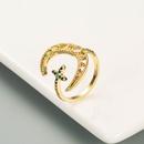 fashion color zircon hollow moon ring  NHLN336990