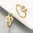 fashion copper microinlaid zircon heartshaped ring  NHLN336998