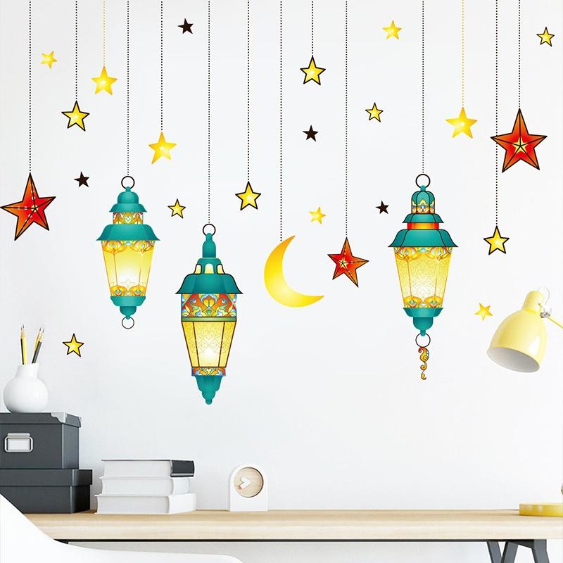 Fashion moon green chandelier stars wall stickers wholesale NHAF337030