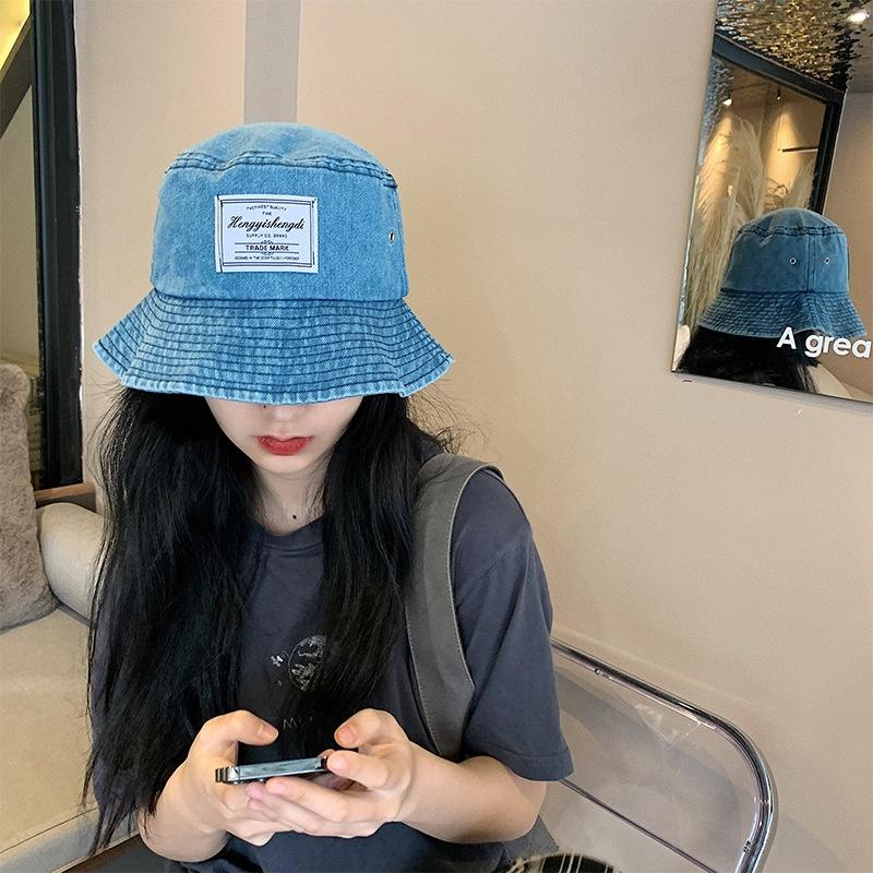 Korean sunscreen patch denim fisherman hat NHALD337046