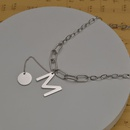 Korean M letter thick stainless steel necklace wholesale NHHF337085