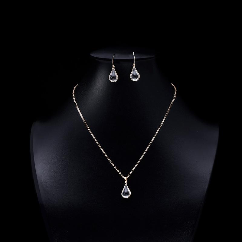 Water drop crystal glass necklace earrings NHAP337101