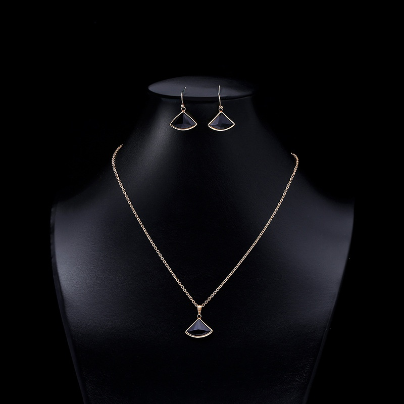 Twopiece fanshaped crystal glass necklace earrings NHAP337102