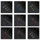 Twopiece diamondshaped crystal glass necklace earrings NHAP337103