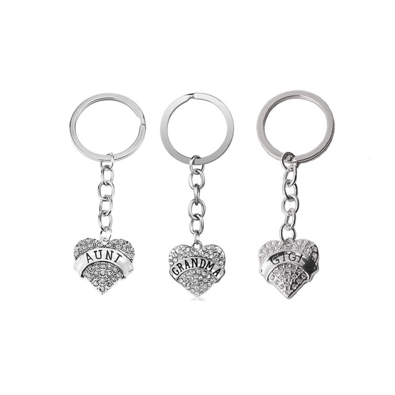 simple stainless steel love diamond keychain NHOA337113