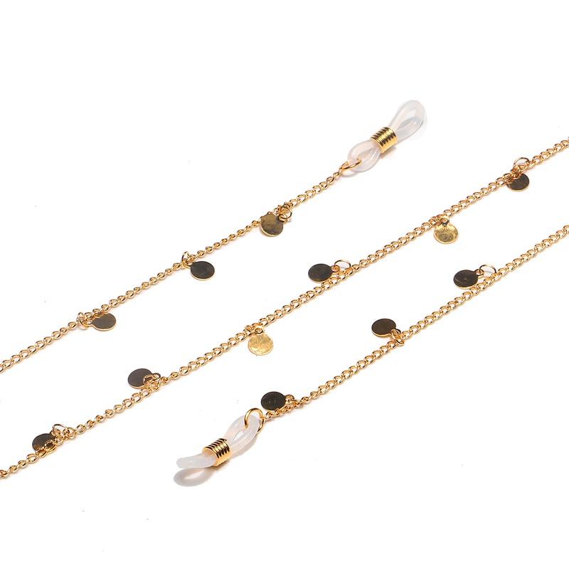 Fashion Gold Round Glasses Chain NHBC337120