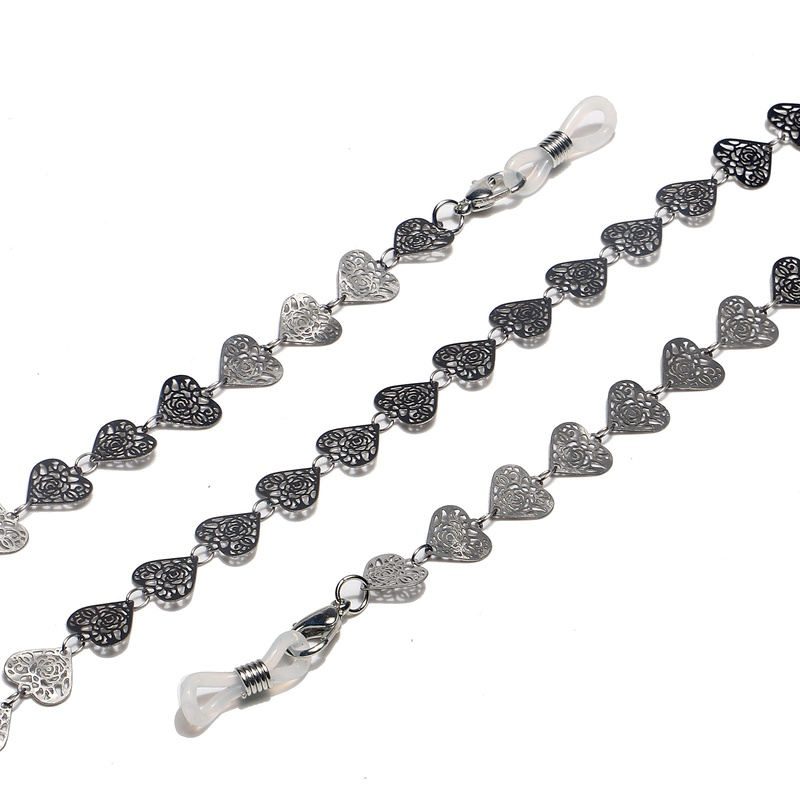 fashion peach heart stainless steel glasses chain NHBC337126