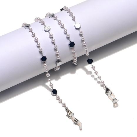 Mode Sechseckige Perle Edelstahl Glaskette NHBC337138's discount tags