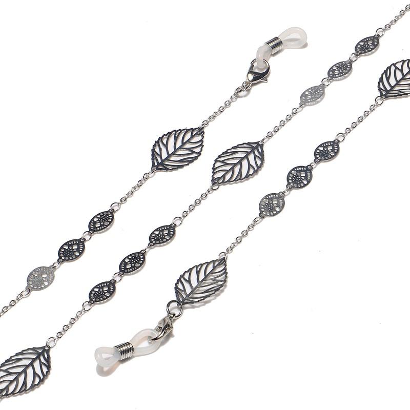 fashion silver hollow leaf pearl glasses chain   NHBC337147