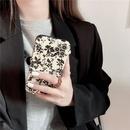 Korean style black floral phone case NHFI337183