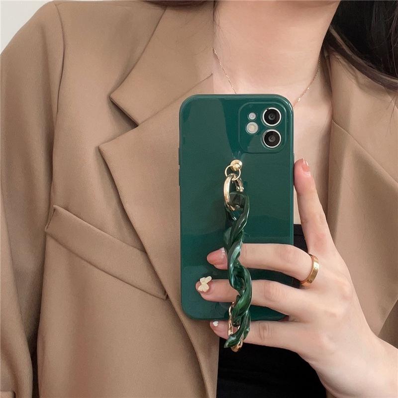 simple dark green marble chain phone case NHFI337195