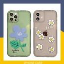 korean transparent simple couple flower phone case NHFI337206