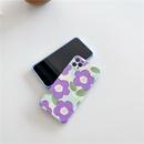 korean oil painting purple flower phone case NHFI337218