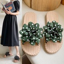Cute spotted flower fabriclatheeled roundtoe sandals NHPE337229