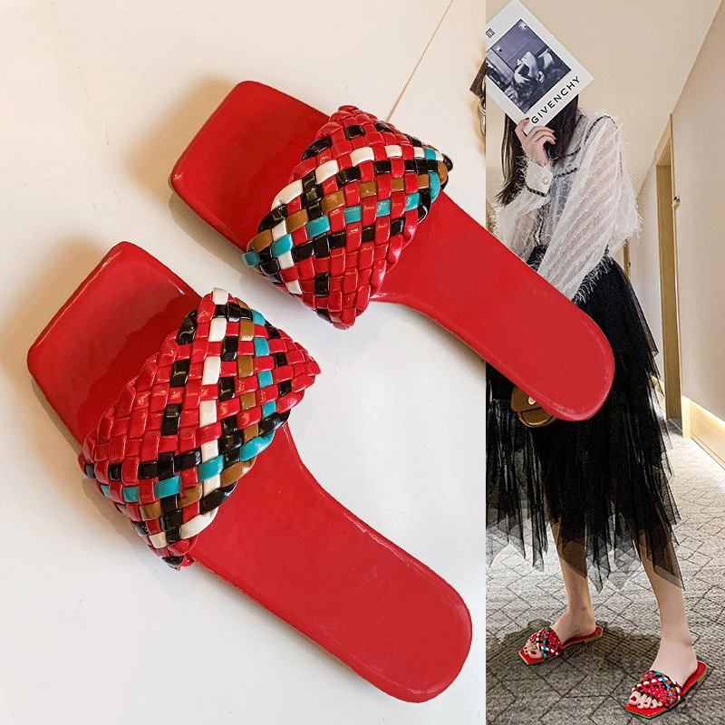 Fashion large size flat colorful woven sandals NHPE337231