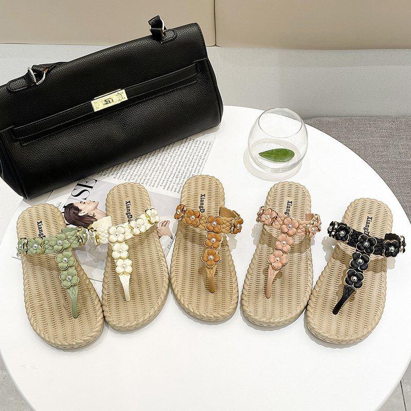 Simple flower rhinestone flat sandals wholesale NHPE337237