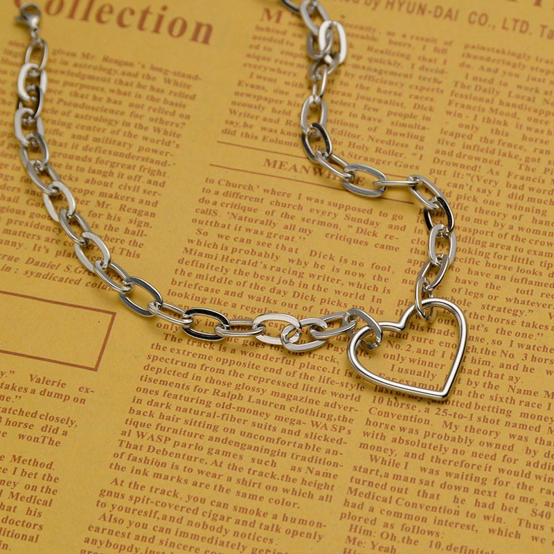 Fashion heartshape stainless steel thick Ochain necklace NHHF337084