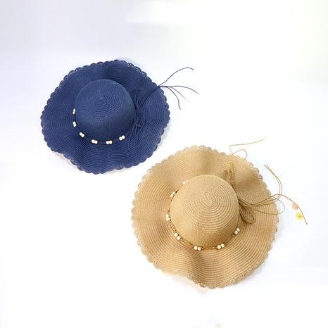 Korean sunshade wave edge sunscreen big brim straw hat NHAMD336805's discount tags