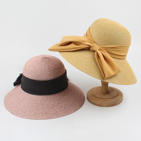 Korean bow big eaves sunscreen straw hat NHXO336758's discount tags