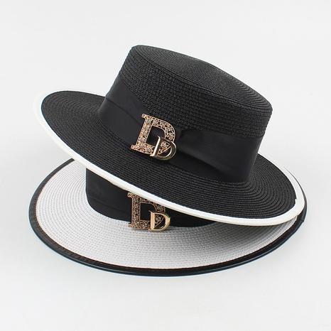 Fashion sunscreen letters rhinestone flat top straw hat NHXO336720's discount tags