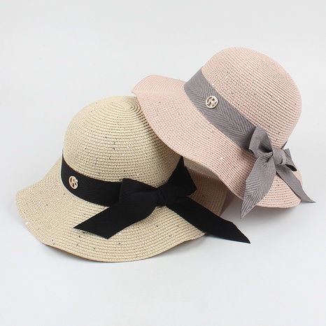 Fashion bowknot wave side foldable sunscreen straw hat NHXO336729's discount tags