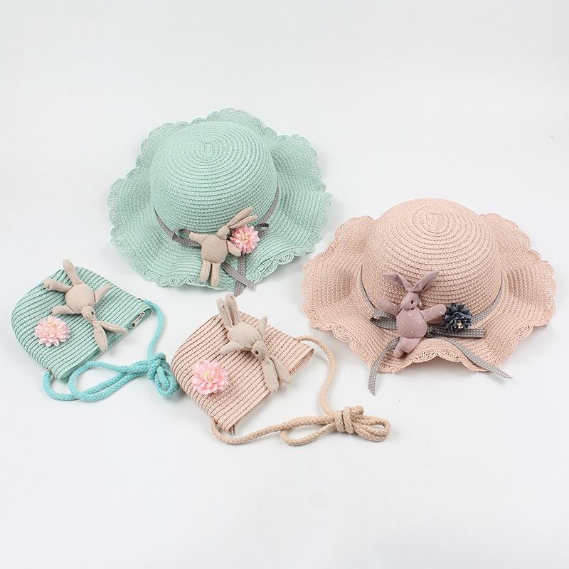 Korean rabbit decorative childrens straw hat  NHXO336730